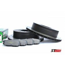 КОМПЛЕКТ ЗАДНИЙ: Тормозные диски DBA 2723S T2+колодки HAWK LTS Toyota LC 200,Lexus LX570, LX450D