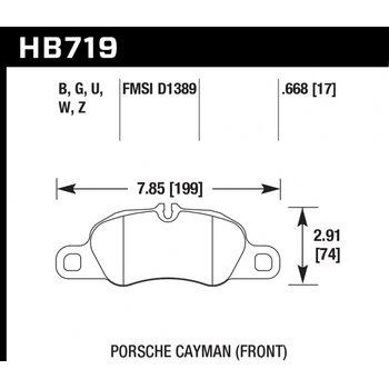 Колодки тормозные HB719B.668 HAWK HPS 5.0 перед Porsche 911 (991)