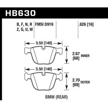 Колодки тормозные HB630R.626 HAWK Street Race; 16mm