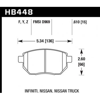 Колодки тормозные HB448Y.610 HAWK LTS передние  INFINITI FX35 / FX45 (до 2006 г.в.)