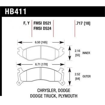 Колодки тормозные HB411Y.717 HAWK LTS; 18mm
