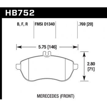 Колодки тормозные HB752R.769 HAWK Street Race; 20mm