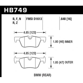 Колодки тормозные HB749F.648 HAWK HPS; 17mm