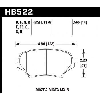 Колодки тормозные HB522R.565 HAWK Street Race