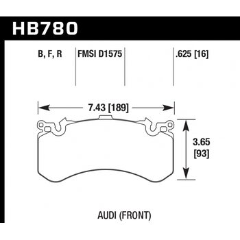 Колодки тормозные HB780R.625 HAWK Street Race; 16mm