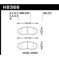 Колодки тормозные HB366Z.681 HAWK PC передние  Honda Civic+ EU,EP 1,8 / FD1,3   Accord