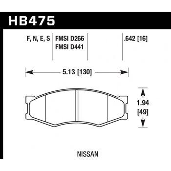 Колодки тормозные HB475N.642 HAWK HP Plus; 17mm