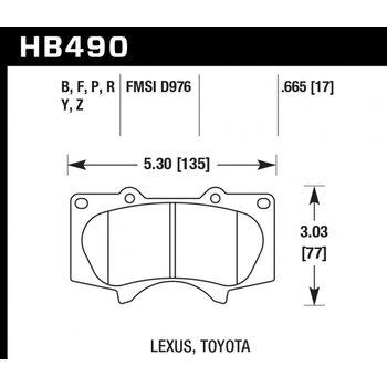 Колодки тормозные HB490B.665 HAWK Street 5.0 передние LEXUS GX460 / GX470;  Prado 150/120; PAJERO 4