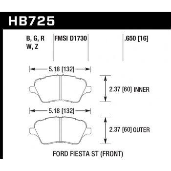Колодки тормозные HB725R.650 HAWK Street Race; 17mm