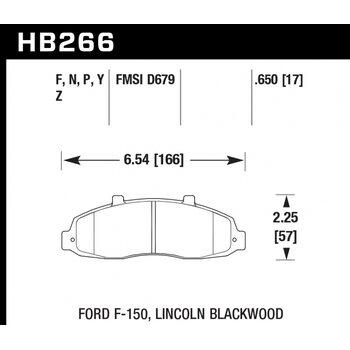 Колодки тормозные HB266N.650 HAWK HP Plus; 17mm