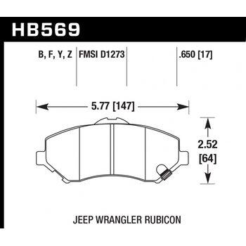 Колодки тормозные HB569F.650 HAWK HPS перед Jeep Liberty (KJ) 2008-> ; Wrangler 2007->