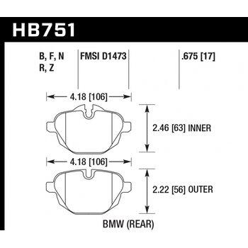 Колодки тормозные HB751N.675 HAWK HP PLUS; 17mm