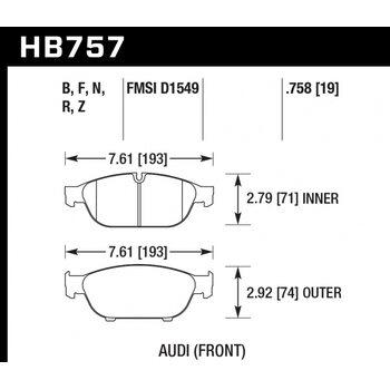 Колодки тормозные HB757R.758 HAWK Street Race; 19mm