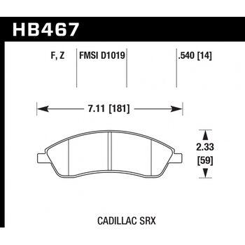 Колодки тормозные HB467Z.540 HAWK PC передние CADILLAC / PONTIAC