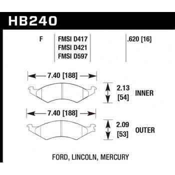 Колодки тормозные HB240F.620 HAWK HPS