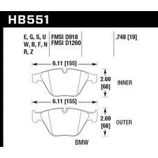 Колодки тормозные HB551N.748 HAWK HP+ передние BMW 3 (E90,91,92) 335i,  M3 E90, 5 E60, 6 E63, 7 E65
