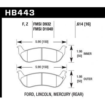 Колодки тормозные HB443Z.614 HAWK PC; 16mm