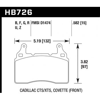 Колодки тормозные HB726R.582 HAWK Street Race; 15mm