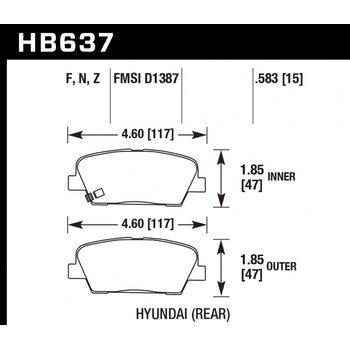 Колодки тормозные HB637N.583 HAWK HP Plus; 15mm