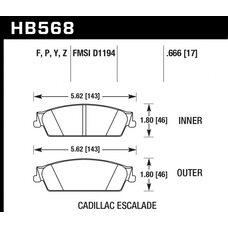 Колодки тормозные HB568F.666 HAWK HPS Cadillac Escalade, Chevrolet Silverado, Suburban задние