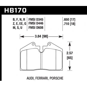 Колодки тормозные HB170N.650 HAWK HP+  AUDI, FERRARI, PORSCHE