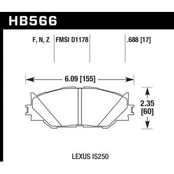 Колодки тормозные HB566N.688 HAWK HP Plus; 18mm