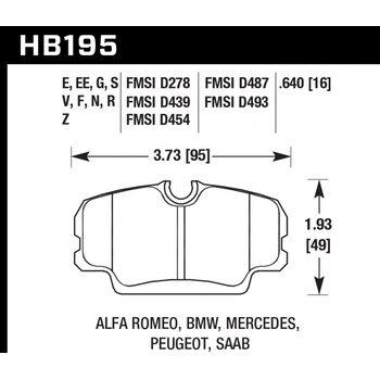Колодки тормозные HB195R.640 HAWK Street Race; 16mm