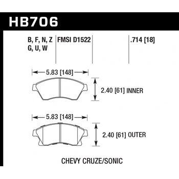Колодки тормозные HB706B.714 HAWK Street 5.0  перед  Opel Astra J / CHEVROLET Cruze