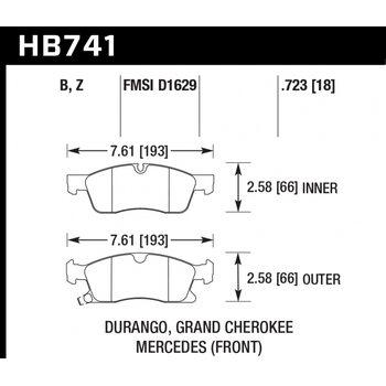 Колодки тормозные HB741Z.723 HAWK PC; 19mm