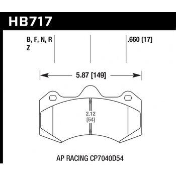 Колодки тормозные HB717R.660 HAWK Street Race; 17mm