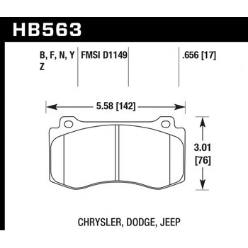 Колодки тормозные HB563Z.656 HAWK Perf. Ceramic  Jeep Cherokee SRT8 2006-2010