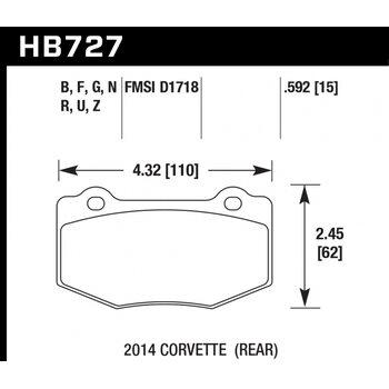 Колодки тормозные HB727R.592 HAWK Street Race; 15mm