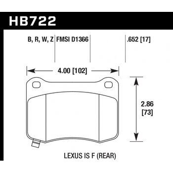 Колодки тормозные HB722R.652 HAWK Street Race; 17mm