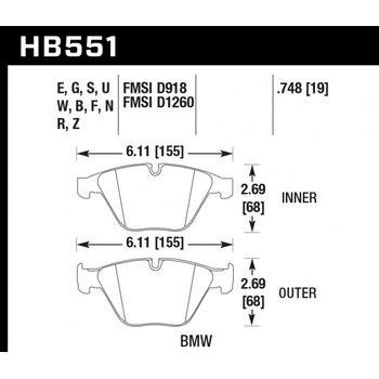 Колодки тормозные HB551Z.748 HAWK PC передние BMW 3 (E90,91,92) 335i,  M3 E90, 5 E60, 6 E63, 7 E65