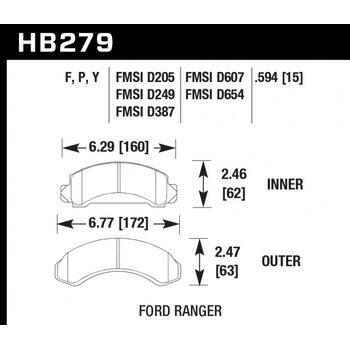 Колодки тормозные HB279F.594 HAWK HPS; 15mm