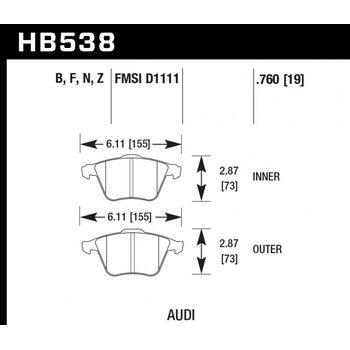 Колодки тормозные HB538N.760 HAWK HP+ передние  Audi A4 8E, A6 4F, A8 4E