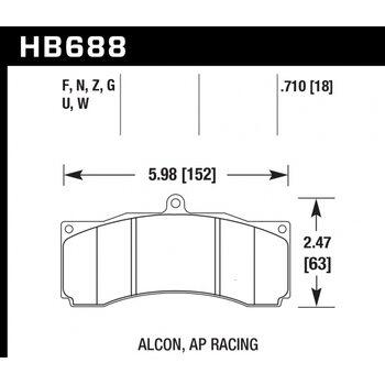 Колодки тормозные HB688Z.710 HAWK Perf. Ceramic PROMA 6  AP Racing, Stop Tech, JBT, Alcon, XYZ