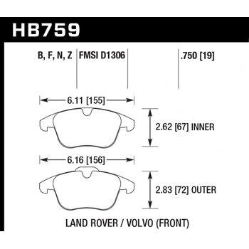 Колодки тормозные HB759N.750 HAWK HP PLUS; 19mm