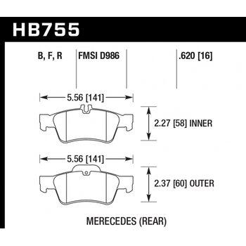 Колодки тормозные HB755B.620 HAWK Street 5.0 MB CLS C218; C219; E W212;