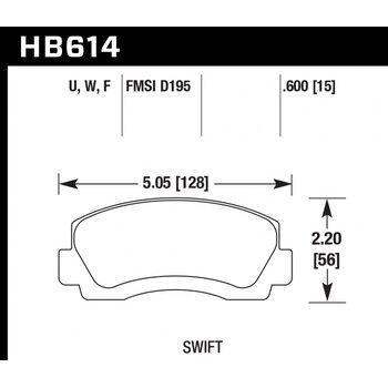 Колодки тормозные HB614F.600 HAWK HPS; 15mm