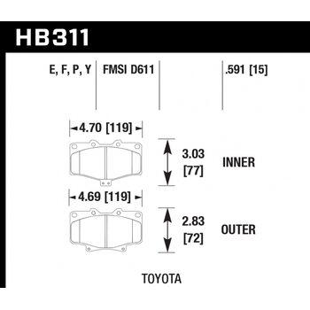 Колодки тормозные HB311P.591 HAWK SuperDuty; 15mm