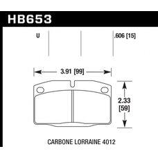 Колодки тормозные HB653U.606 HAWK DTC-70 Corsa A, Kadett 15 mm