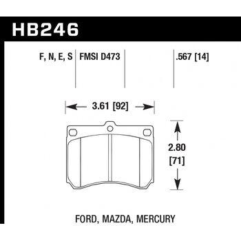 Колодки тормозные HB246N.567 HAWK HP Plus; 15mm