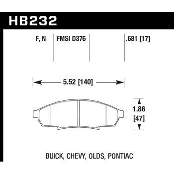 Колодки тормозные HB232N.681 HAWK HP Plus; 18mm