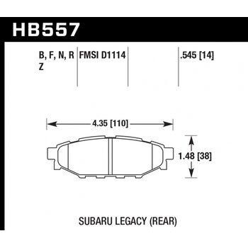Колодки тормозные HB557R.545 HAWK Street Race задние Subaru BR-Z, Forester SG, SH, Impreza GH, Legac