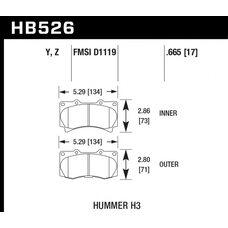 Колодки тормозные HB526Z.665 HAWK PC передние  Hummer H3