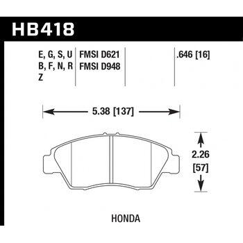 Колодки тормозные HB418R.646 HAWK Street Race; 17mm