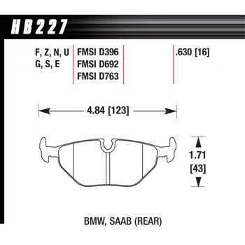 Колодки тормозные HB227R.630 HAWK Street Race задние BMW 5 (E34) / 7 (E32) / M3 3.0 E36