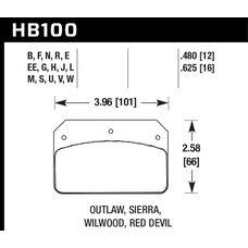 Колодки тормозные HB100L.480 HAWK MT-4  ALCON PNF0084X284 / WILWOOD Dynalite