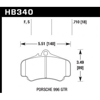 Колодки тормозные HB340F.710 HAWK HPS  PORSCHE 911 (996),  (997)